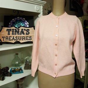 Vintage 1950's Pink Wool Cardigan